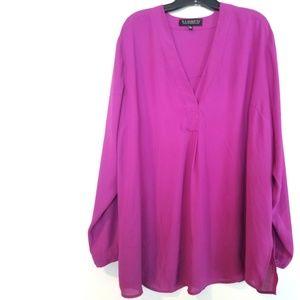 22 Eloquii Fuchsia Purple Pleat Front Tunic Blouse